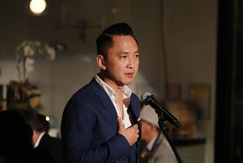 Dr. Viet Thanh Nguyen speaking at the Chefs for Human Rights event