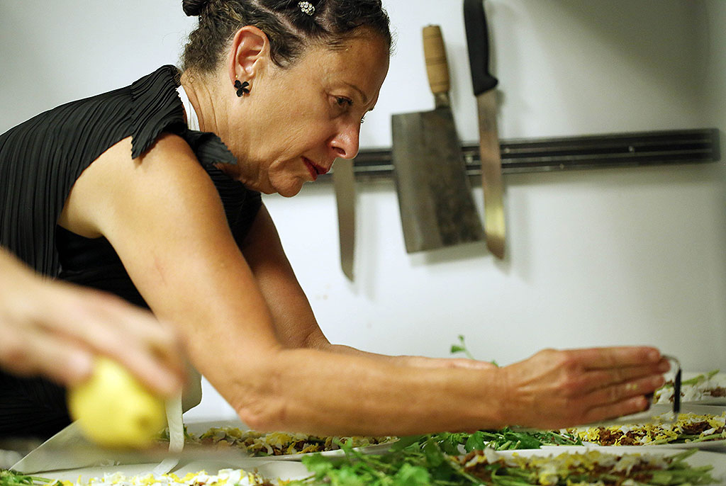 Nancy Silverton preparing for the October Chefs for Human Rights Event